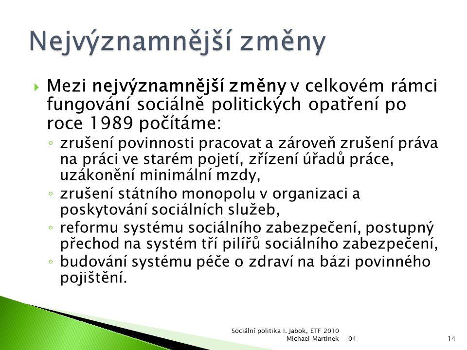  Mezi nejvýznamnější změny v celkovém rámci fungování sociálně politických opatření po roce 1989 počítáme: ◦ zrušení povinnosti pracovat a zároveň zrušení práva na práci ve starém pojetí, zřízení úřadů práce, uzákonění minimální mzdy, ◦ zrušení státního monopolu v organizaci a poskytování sociálních služeb, ◦ reformu systému sociálního zabezpečení, postupný přechod na systém tří pilířů sociálního zabezpečení, ◦ budování systému péče o zdraví na bázi povinného pojištění.