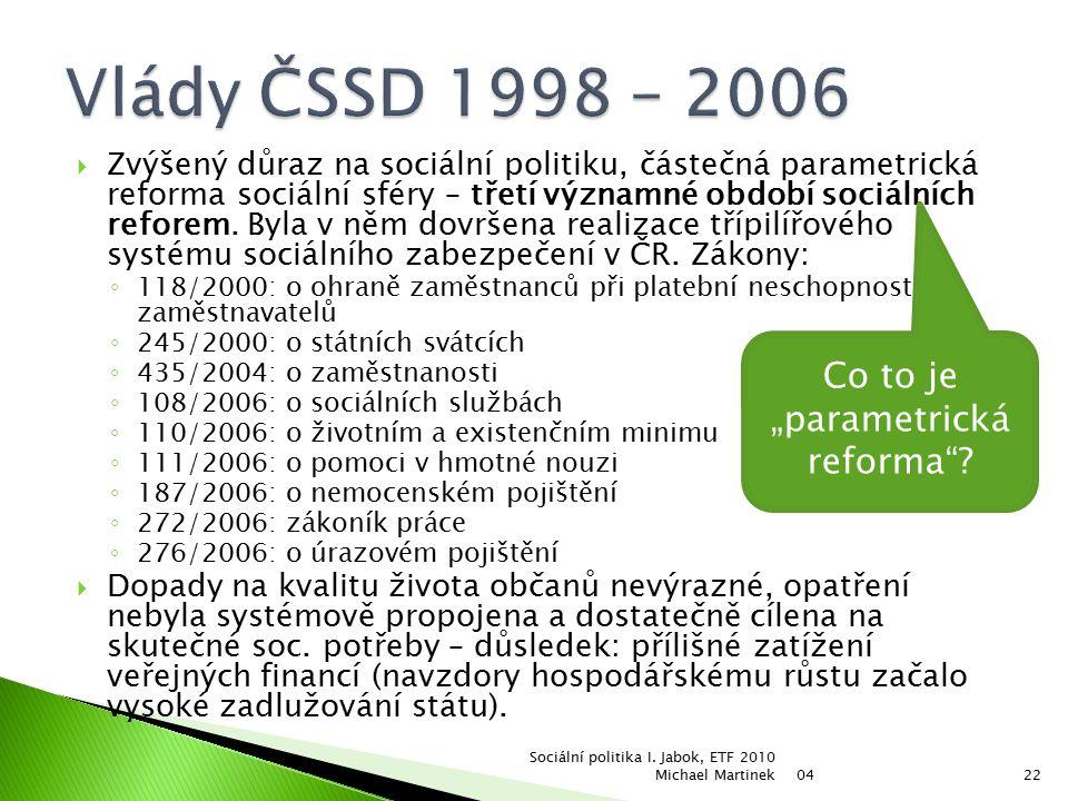  Zvýšený důraz na sociální politiku, částečná parametrická reforma sociální sféry – třetí významné období sociálních reforem.