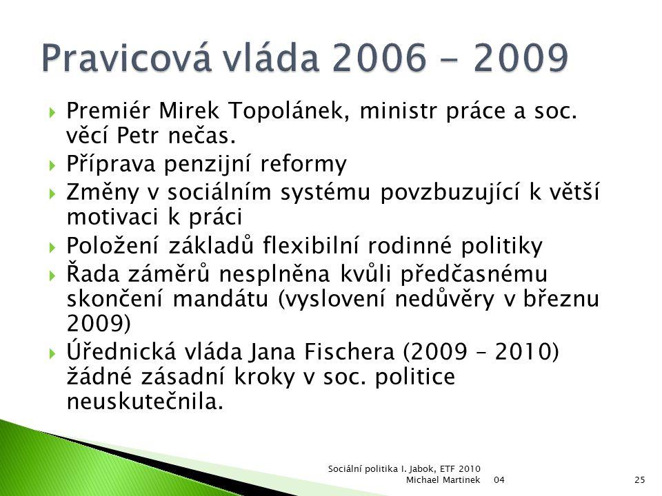  Premiér Mirek Topolánek, ministr práce a soc. věcí Petr nečas.