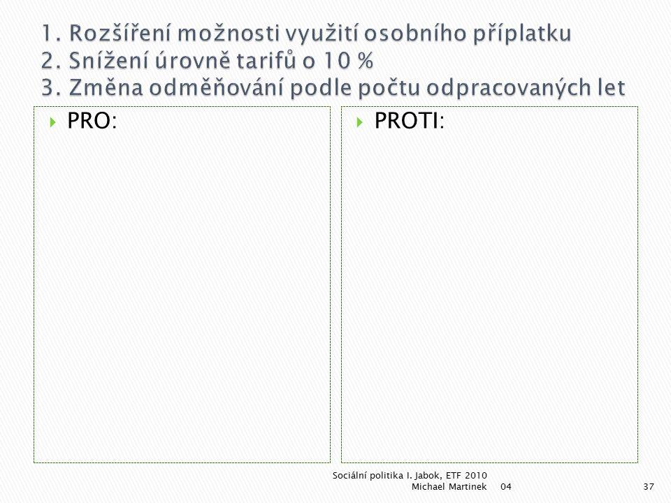  PRO:  PROTI: 04 Sociální politika I. Jabok, ETF 2010 Michael Martinek37