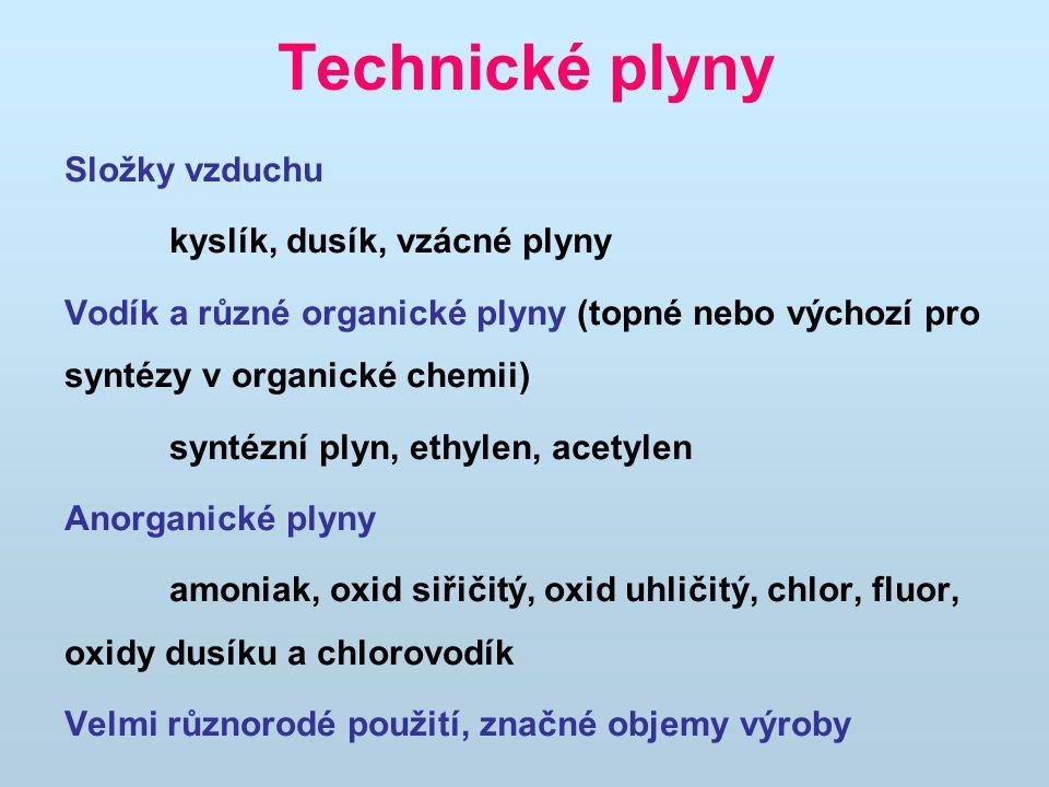 Technické plyny Složky vzduchu kyslík, dusík, vzácné plyny Vodík a různé organické plyny (topné nebo výchozí pro syntézy v organické chemii) syntézní