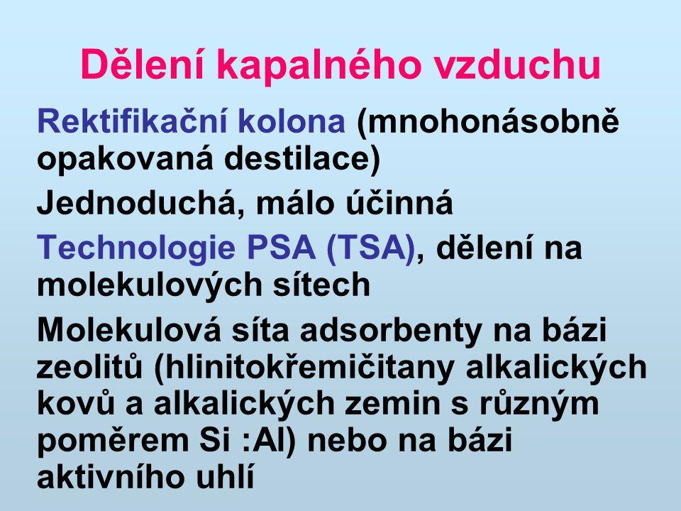 Dělení kapalného vzduchu Rektifikační kolona (mnohonásobně opakovaná destilace) Jednoduchá, málo účinná Technologie PSA (TSA), dělení na molekulových