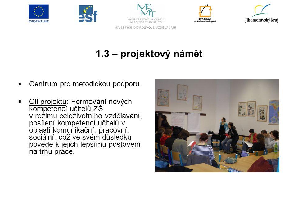 1.3 – projektový námět  Centrum pro metodickou podporu.