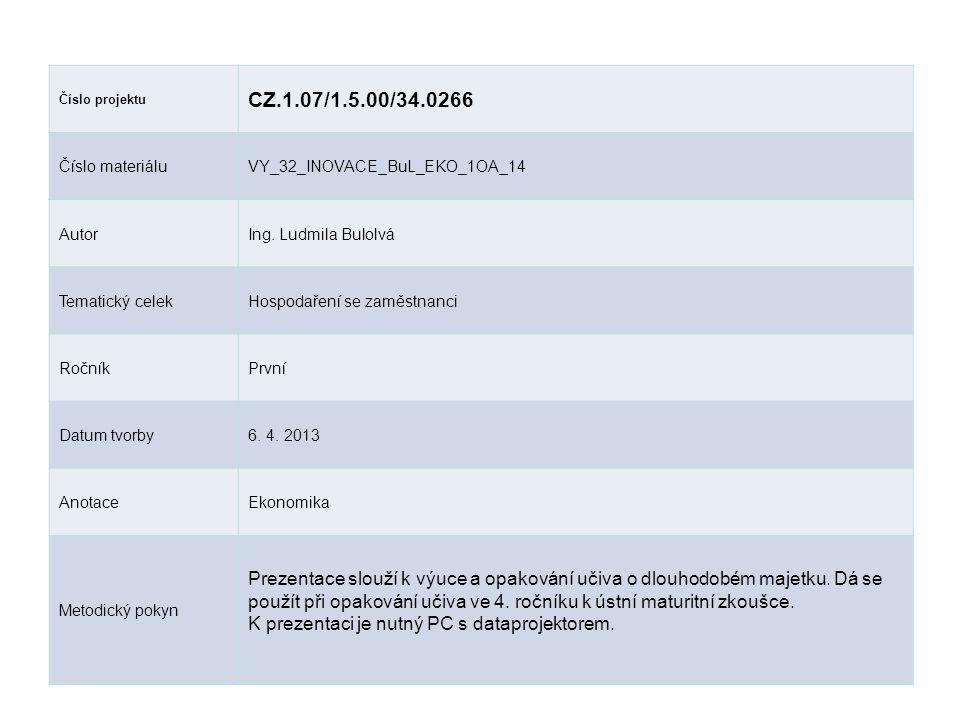 Číslo projektu CZ.1.07/1.5.00/34.0266 Číslo materiáluVY_32_INOVACE_BuL_EKO_1OA_14 AutorIng.