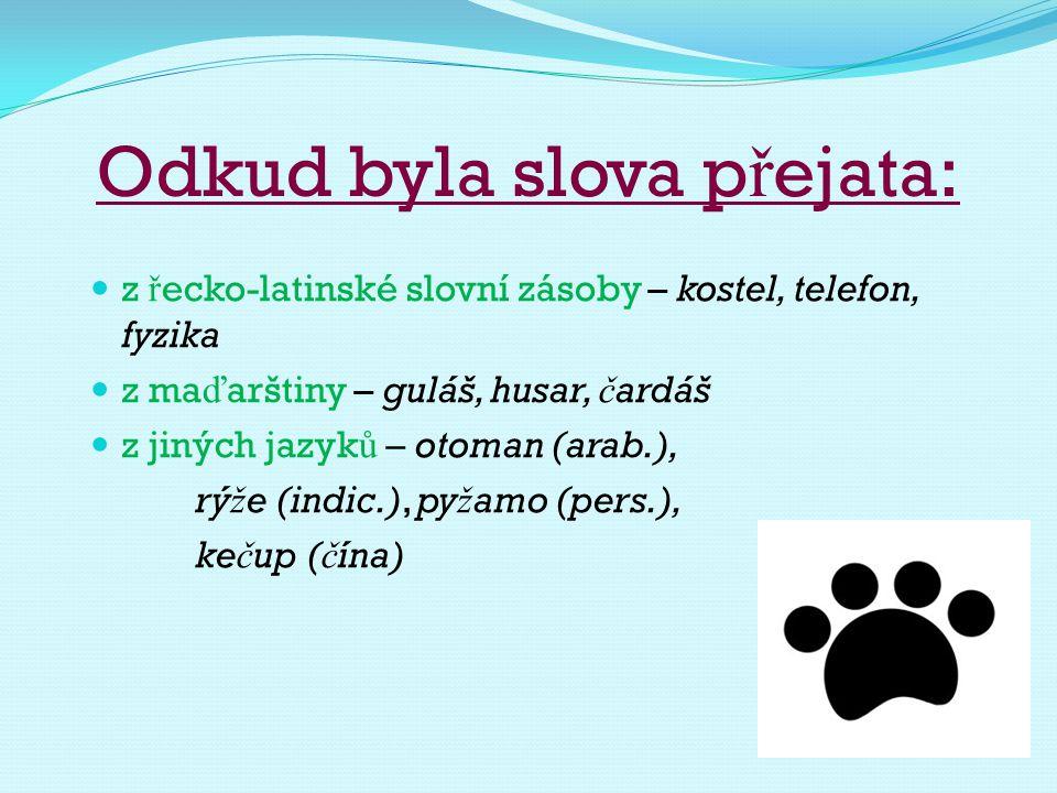 Odkud byla slova p ř ejata: Ze slovanských jazyk ů z ruštiny – bohatýr, č aj, samovar, kolchoz, p ě tiletka, brigáda, dru ž ba z polštiny – sv ěž í, tklivý, chmura z chorvatštiny - junák
