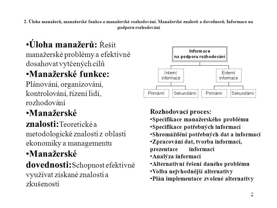 2 2. Úloha manažerů, manažerské funkce a manažerské rozhodování. Manažerské znalosti a dovednosti. Informace na podporu rozhodování Rozhodovací proces