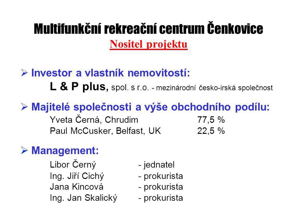 Multifunkční rekreační centrum Čenkovice Nositel projektu  Investor a vlastník nemovitostí: L & P plus, spol.