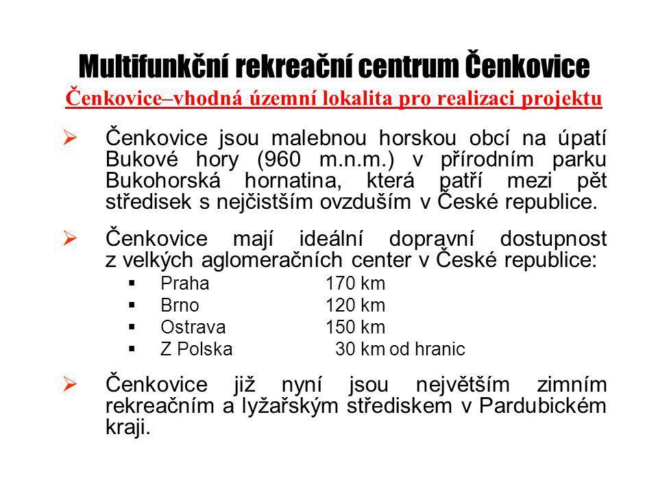 Multifunkční rekreační centrum Čenkovice Čenkovice–vhodná územní lokalita pro realizaci projektu  Čenkovice jsou malebnou horskou obcí na úpatí Bukové hory (960 m.n.m.) v přírodním parku Bukohorská hornatina, která patří mezi pět středisek s nejčistším ovzduším v České republice.