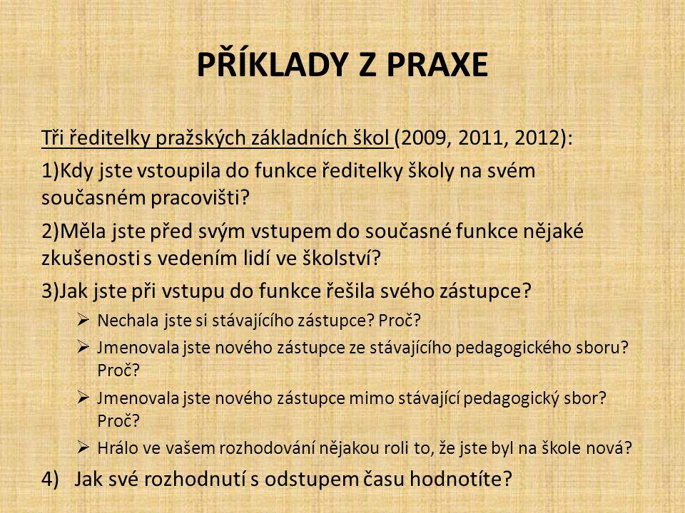 PŘÍKLADY Z PRAXE Tři ředitelky pražských základních škol (2009, 2011, 2012): 1)Kdy jste vstoupila do funkce ředitelky školy na svém současném pracoviš