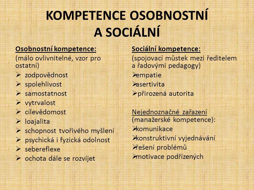 KOMPETENCE OSOBNOSTNÍ A SOCIÁLNÍ Osobnostní kompetence: (málo ovlivnitelné, vzor pro ostatní)  zodpovědnost  spolehlivost  samostatnost  vytrvalos