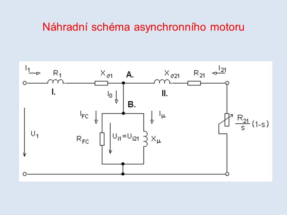 V náhradním schématu indukčního motoru je označení prvků shodné se značením u trafa, pouze termín primár nahradíme pojmem stator a termín sekundár pojmem rotor.