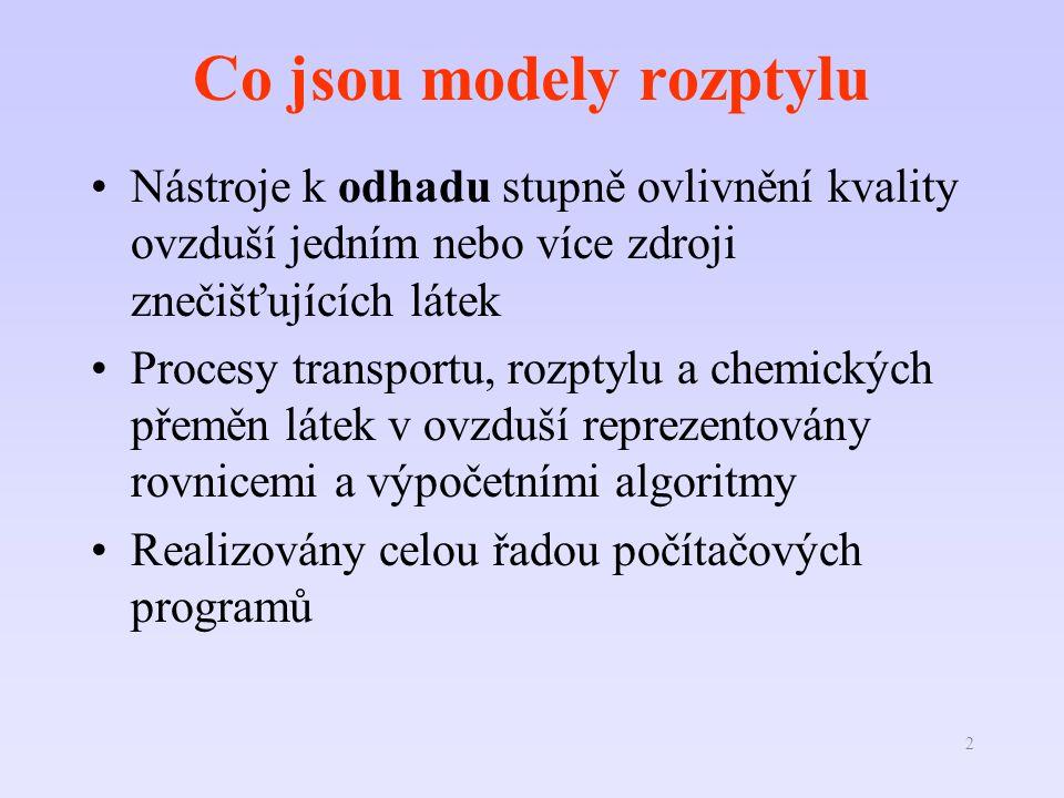 2 Co jsou modely rozptylu Nástroje k odhadu stupně ovlivnění kvality ovzduší jedním nebo více zdroji znečišťujících látek Procesy transportu, rozptylu a chemických přeměn látek v ovzduší reprezentovány rovnicemi a výpočetními algoritmy Realizovány celou řadou počítačových programů