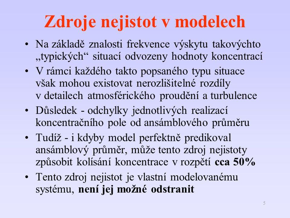 """5 Zdroje nejistot v modelech Na základě znalosti frekvence výskytu takovýchto """"typických"""" situací odvozeny hodnoty koncentrací V rámci každého takto p"""