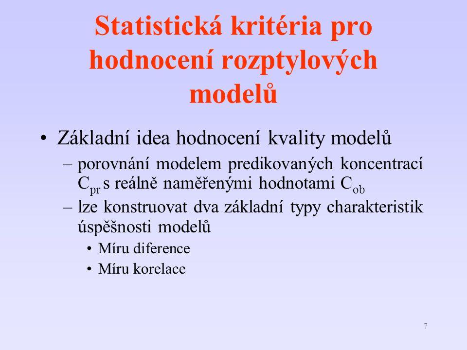 7 Statistická kritéria pro hodnocení rozptylových modelů Základní idea hodnocení kvality modelů –porovnání modelem predikovaných koncentrací C pr s reálně naměřenými hodnotami C ob –lze konstruovat dva základní typy charakteristik úspěšnosti modelů Míru diference Míru korelace