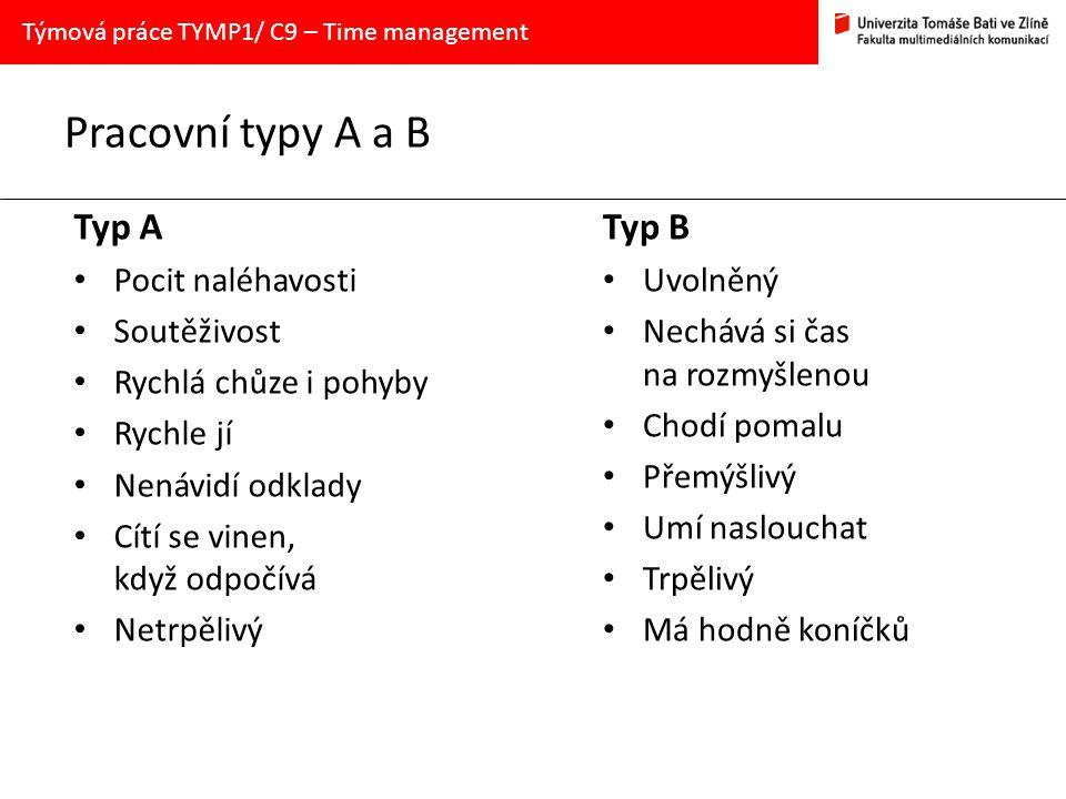 Pracovní typy A a B Typ A Pocit naléhavosti Soutěživost Rychlá chůze i pohyby Rychle jí Nenávidí odklady Cítí se vinen, když odpočívá Netrpělivý Typ B Uvolněný Nechává si čas na rozmyšlenou Chodí pomalu Přemýšlivý Umí naslouchat Trpělivý Má hodně koníčků Týmová práce TYMP1/ C9 – Time management