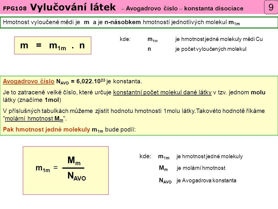 FPG108 Vylučování látek – Avogadrovo č í slo – konstanta disociace Hmotnost vyloučené mědi je m a je n-násobkem hmotností jednotlivých molekul m 1m Avogadrovo číslo N AVO = 6,022.10 23 je konstanta.