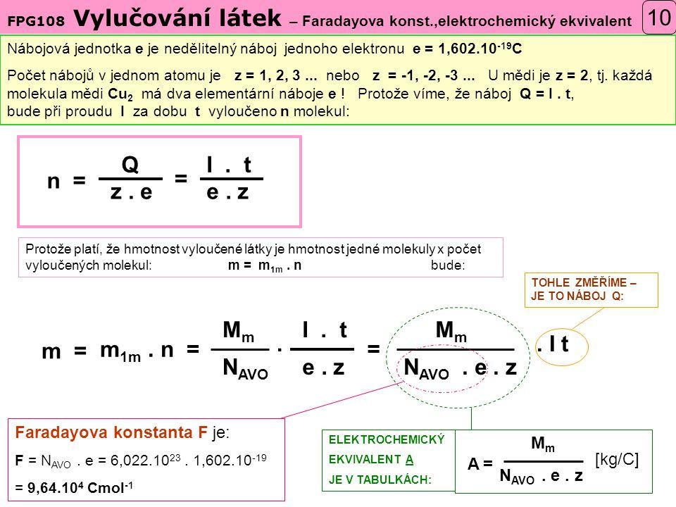 FPG108 Vylučování látek – Faradayova konst.,elektrochemický ekvivalent 10 Nábojová jednotka e je nedělitelný náboj jednoho elektronu e = 1,602.10 -19 C Počet nábojů v jednom atomu je z = 1, 2, 3...