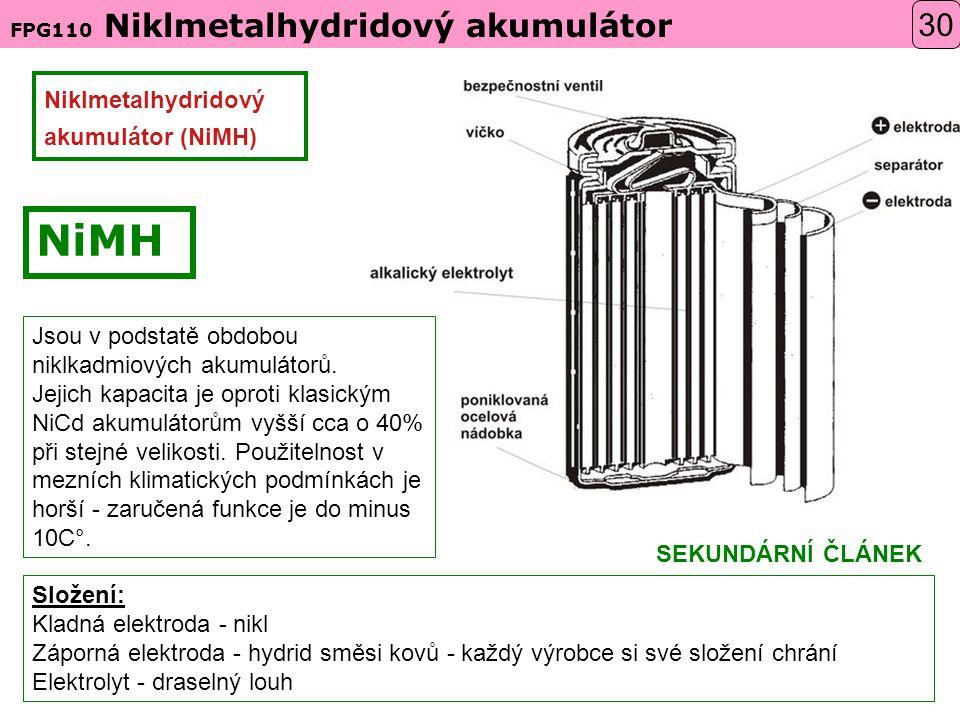 Niklmetalhydridový akumulátor (NiMH) Složení: Kladná elektroda - nikl Záporná elektroda - hydrid směsi kovů - každý výrobce si své složení chrání Elektrolyt - draselný louh Jsou v podstatě obdobou niklkadmiových akumulátorů.