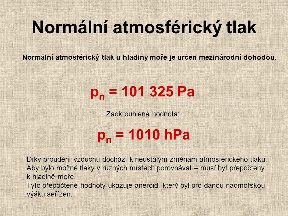 Normální atmosférický tlak Normální atmosférický tlak u hladiny moře je určen mezinárodní dohodou. p n = 101 325 Pa Zaokrouhlená hodnota: p n = 1010 h