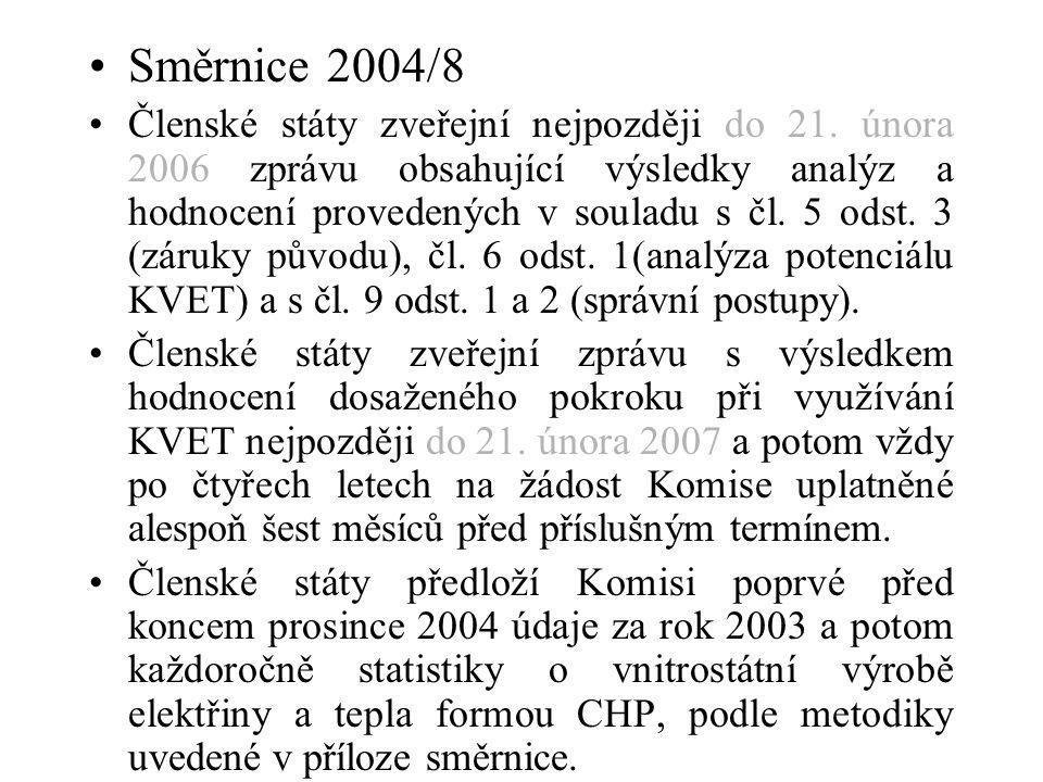 Směrnice 2004/8 Členské státy zveřejní nejpozději do 21. února 2006 zprávu obsahující výsledky analýz a hodnocení provedených v souladu s čl. 5 odst.