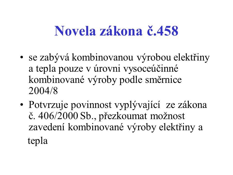 Novela zákona č.458 se zabývá kombinovanou výrobou elektřiny a tepla pouze v úrovni vysoceúčinné kombinované výroby podle směrnice 2004/8 Potvrzuje po