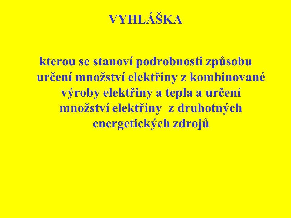 VYHLÁŠKA kterou se stanoví podrobnosti způsobu určení množství elektřiny z kombinované výroby elektřiny a tepla a určení množství elektřiny z druhotný