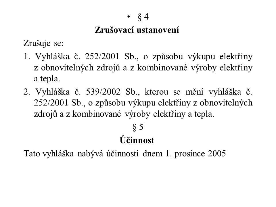 § 4 Zrušovací ustanovení Zrušuje se: 1. Vyhláška č. 252/2001 Sb., o způsobu výkupu elektřiny z obnovitelných zdrojů a z kombinované výroby elektřiny a