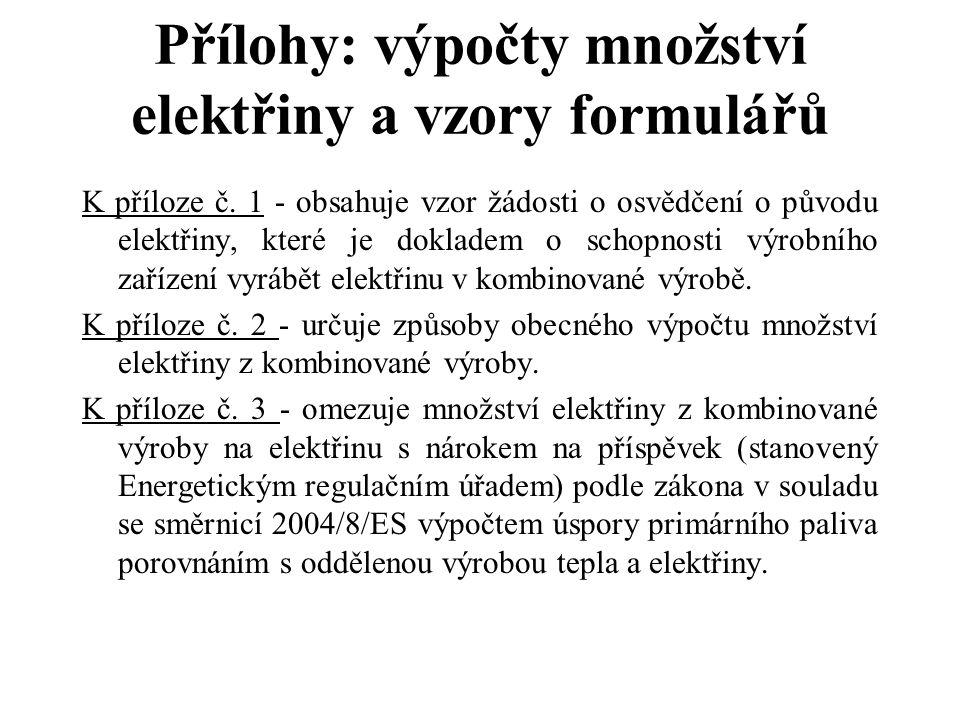 Přílohy: výpočty množství elektřiny a vzory formulářů K příloze č. 1 - obsahuje vzor žádosti o osvědčení o původu elektřiny, které je dokladem o schop