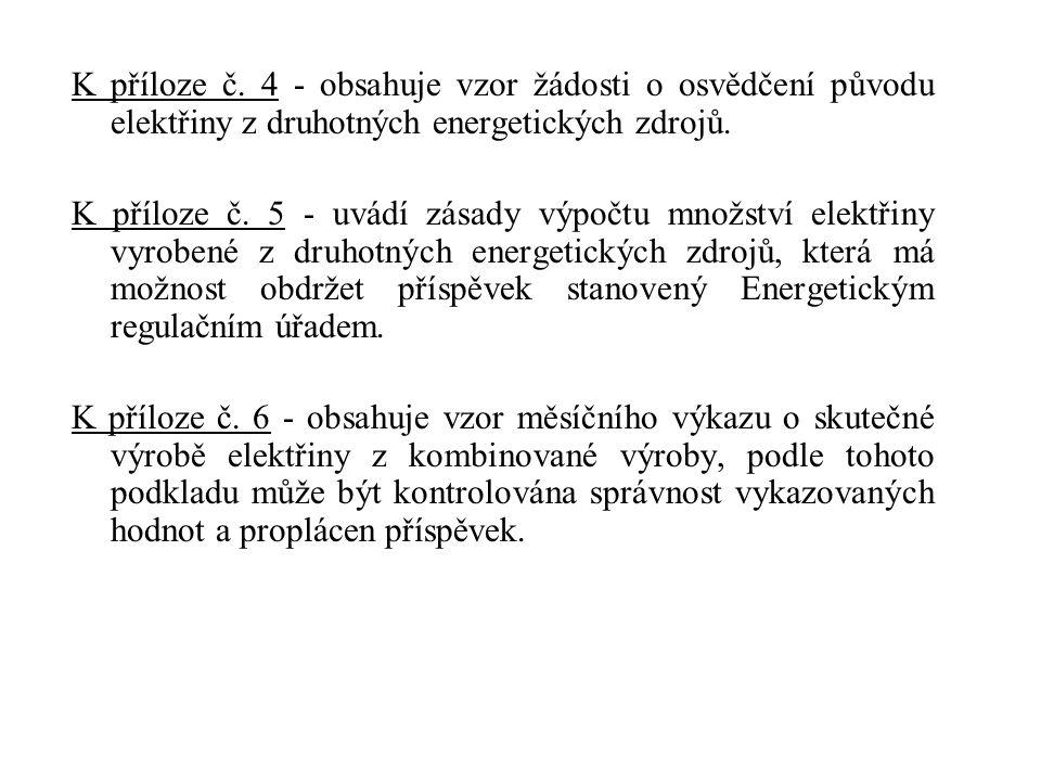 K příloze č. 4 - obsahuje vzor žádosti o osvědčení původu elektřiny z druhotných energetických zdrojů. K příloze č. 5 - uvádí zásady výpočtu množství