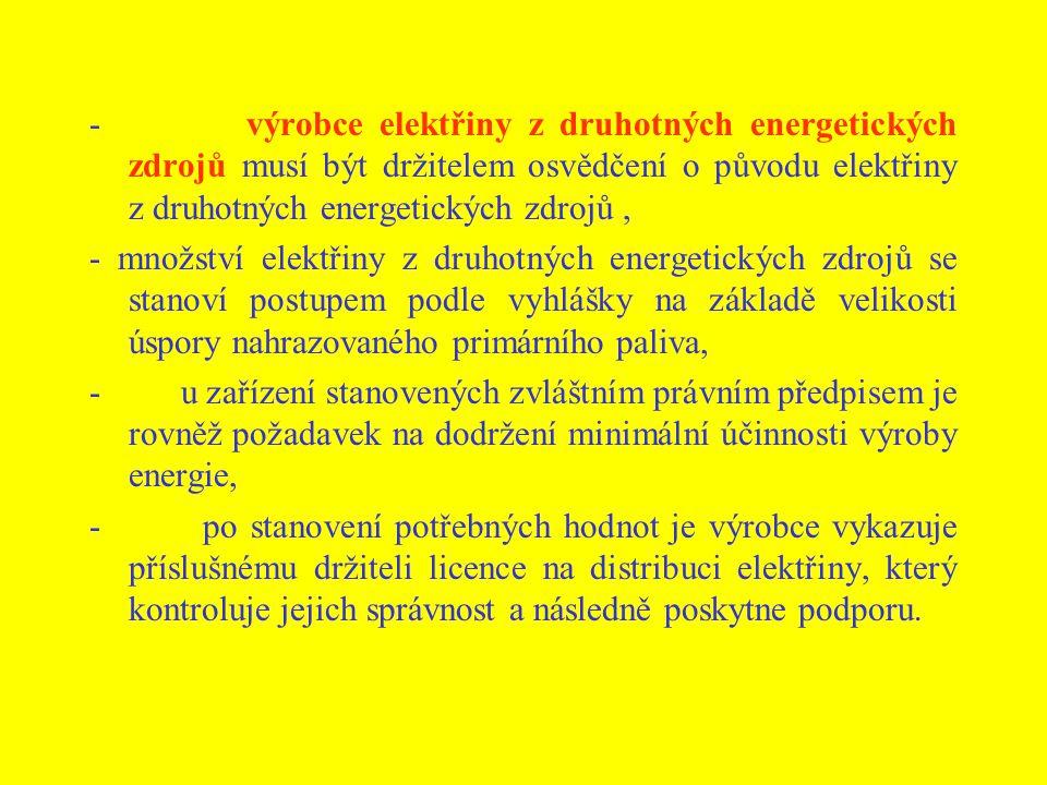 - výrobce elektřiny z druhotných energetických zdrojů musí být držitelem osvědčení o původu elektřiny z druhotných energetických zdrojů, - množství el