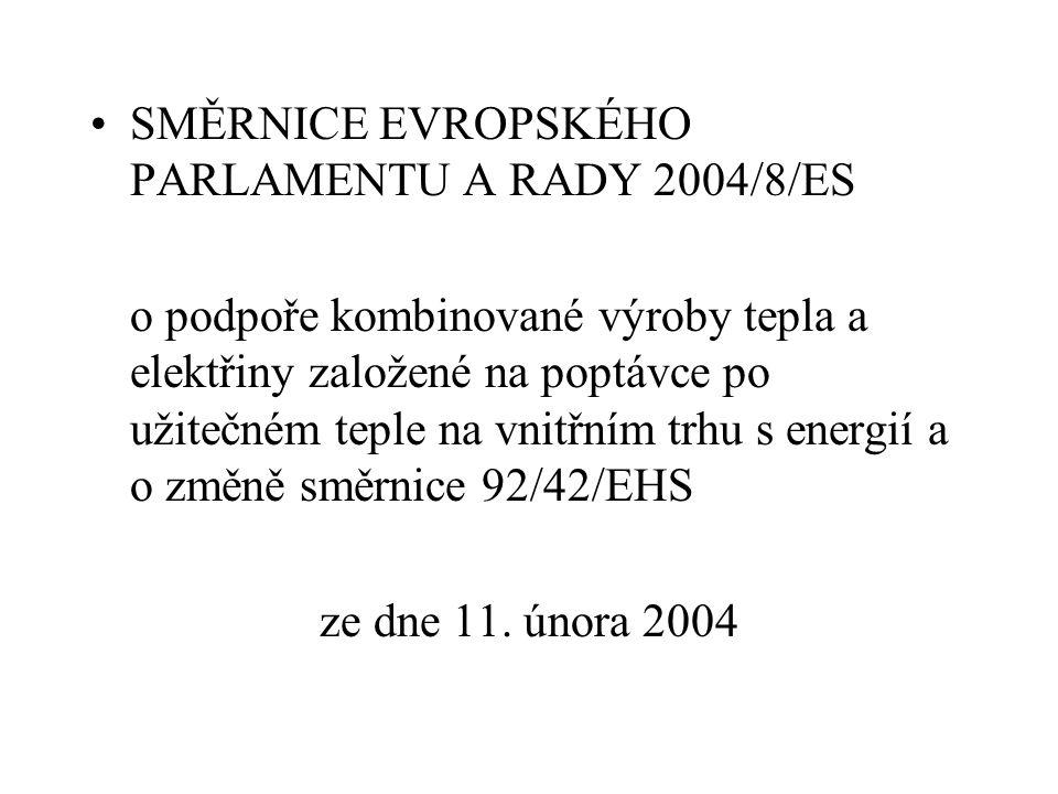 SMĚRNICE EVROPSKÉHO PARLAMENTU A RADY 2004/8/ES o podpoře kombinované výroby tepla a elektřiny založené na poptávce po užitečném teple na vnitřním trh