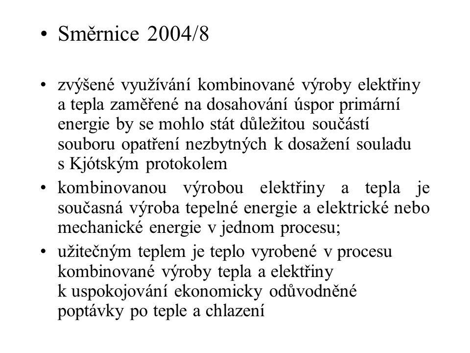 Směrnice 2004/8 zvýšené využívání kombinované výroby elektřiny a tepla zaměřené na dosahování úspor primární energie by se mohlo stát důležitou součás