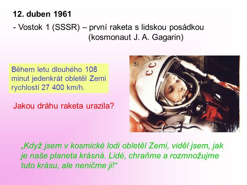 12. duben 1961 - Vostok 1 (SSSR) – první raketa s lidskou posádkou (kosmonaut J.