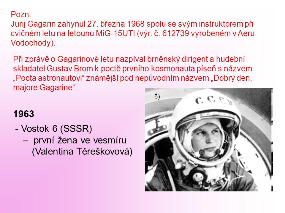Pozn: Jurij Gagarin zahynul 27. března 1968 spolu se svým instruktorem při cvičném letu na letounu MiG-15UTI (výr. č. 612739 vyrobeném v Aeru Vodochod