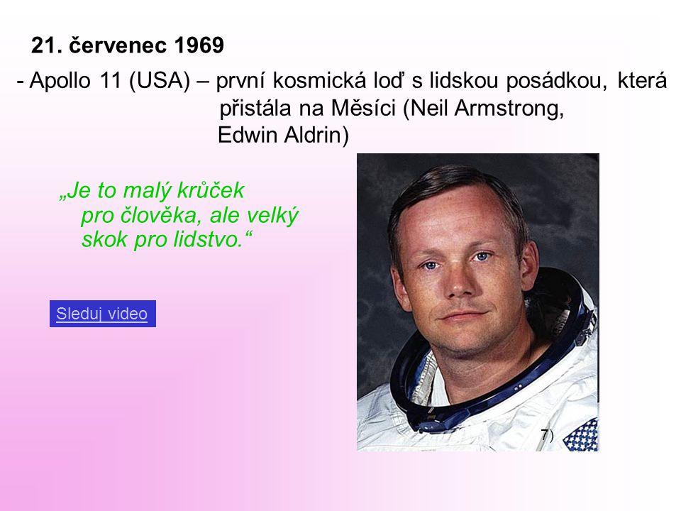 """21. červenec 1969 - Apollo 11 (USA) – první kosmická loď s lidskou posádkou, která přistála na Měsíci (Neil Armstrong, Edwin Aldrin) """"Je to malý krůče"""