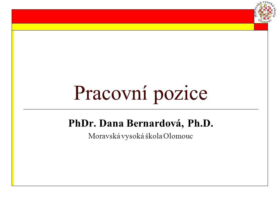 Pracovní pozice PhDr. Dana Bernardová, Ph.D. Moravská vysoká škola Olomouc