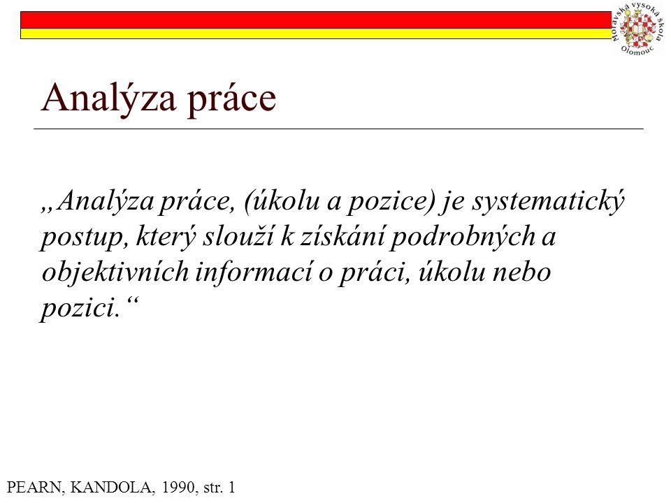 """Analýza práce """"Analýza práce, (úkolu a pozice) je systematický postup, který slouží k získání podrobných a objektivních informací o práci, úkolu nebo pozici. PEARN, KANDOLA, 1990, str."""