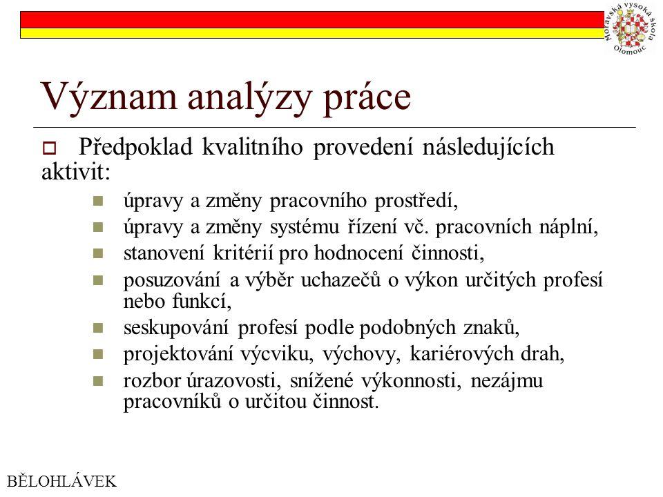 Význam analýzy práce  Předpoklad kvalitního provedení následujících aktivit: úpravy a změny pracovního prostředí, úpravy a změny systému řízení vč.