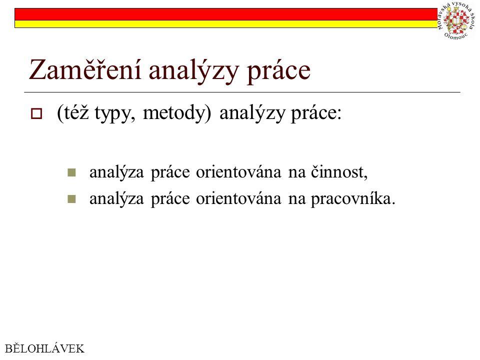 Zaměření analýzy práce  (též typy, metody) analýzy práce: analýza práce orientována na činnost, analýza práce orientována na pracovníka.