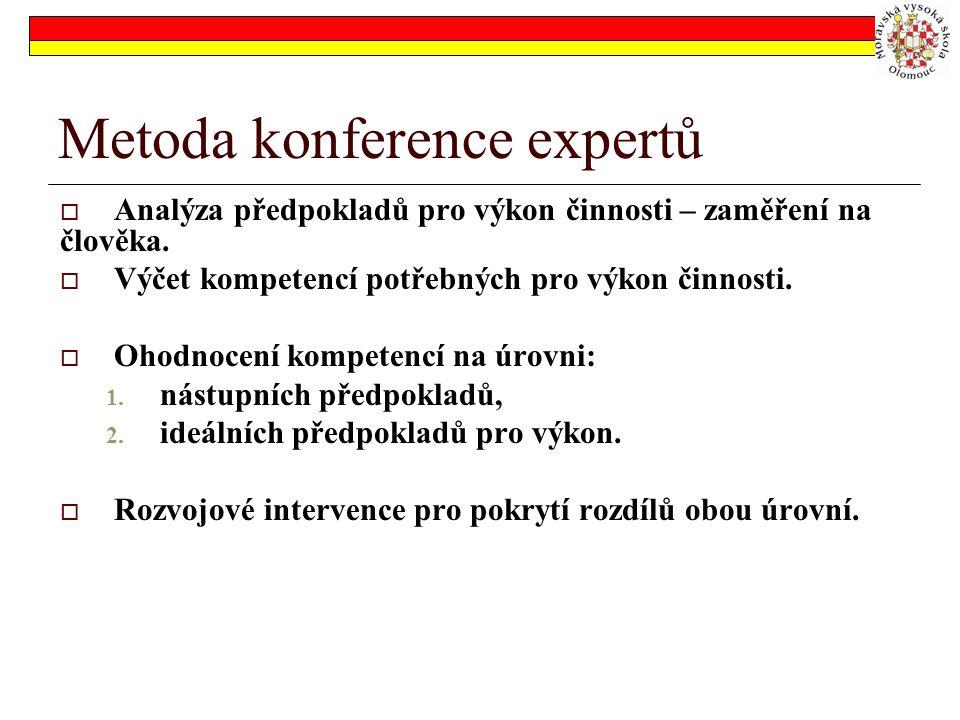 Metoda konference expertů  Analýza předpokladů pro výkon činnosti – zaměření na člověka.