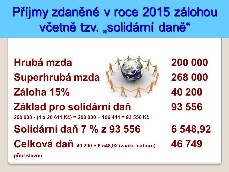 Příjmy zdaněné v roce 2015 zálohou včetně tzv.