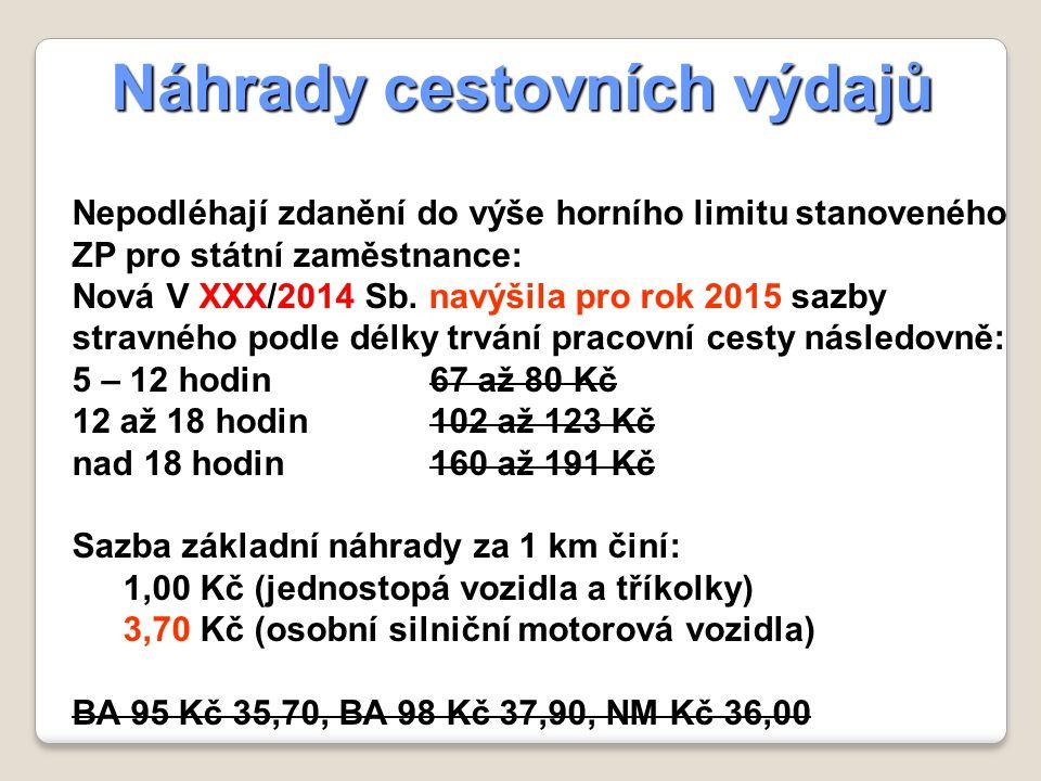 Náhrady cestovních výdajů Nepodléhají zdanění do výše horního limitu stanoveného ZP pro státní zaměstnance: Nová V XXX/2014 Sb.