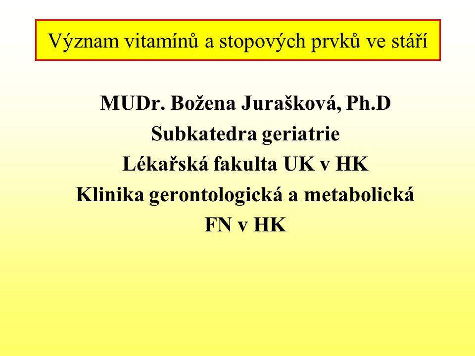 MUDr. Božena Jurašková, Ph.D Subkatedra geriatrie Lékařská fakulta UK v HK Klinika gerontologická a metabolická FN v HK Význam vitamínů a stopových pr