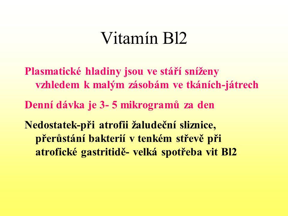 Vitamín Bl2 Plasmatické hladiny jsou ve stáří sníženy vzhledem k malým zásobám ve tkáních-játrech Denní dávka je 3- 5 mikrogramů za den Nedostatek-při
