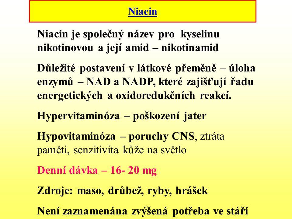 Niacin Niacin je společný název pro kyselinu nikotinovou a její amid – nikotinamid Důležité postavení v látkové přeměně – úloha enzymů – NAD a NADP, k