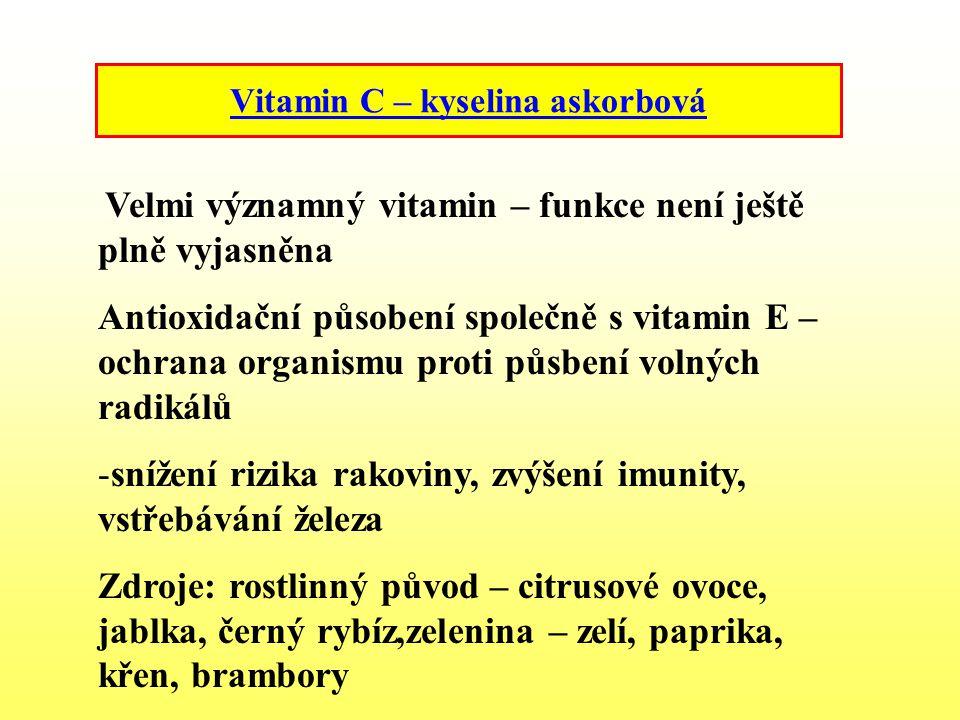 Vitamin C – kyselina askorbová Velmi významný vitamin – funkce není ještě plně vyjasněna Antioxidační působení společně s vitamin E – ochrana organism