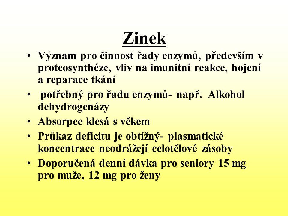 Zinek Význam pro činnost řady enzymů, především v proteosynthéze, vliv na imunitní reakce, hojení a reparace tkání potřebný pro řadu enzymů- např. Alk