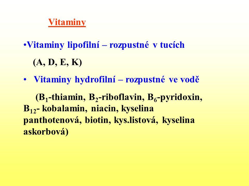 Vitaminy Vitaminy lipofilní – rozpustné v tucích (A, D, E, K) Vitaminy hydrofilní – rozpustné ve vodě (B 1 -thiamin, B 2 -riboflavin, B 6 -pyridoxin,