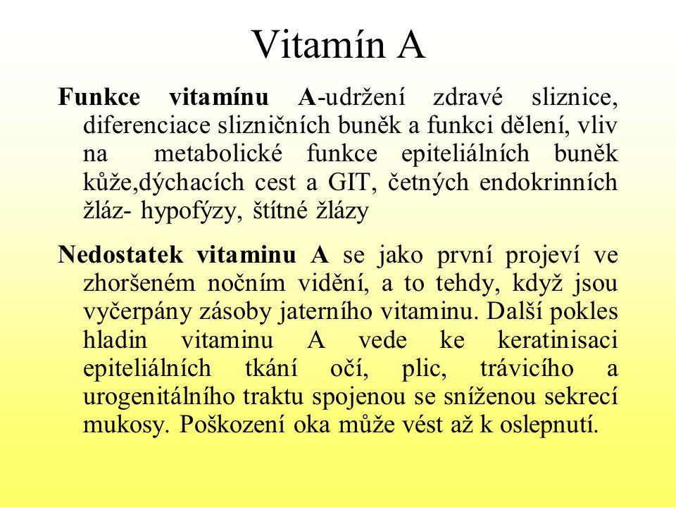 Vitamin B2- Riboflavin Velice významný vitamin – součástí 200 druhů enzymů, látková výměna – metabolismus bílkovin, AK, lipidů, sacharidů Oxidoredukční procesy Zdroje – mléko a mléčné výrobky, játra, špenát, luštěniny, kvasnice, těstoviny Denní dávka nad 5O let – 1,2 – 1,5 mg Deficit B2- snížení aktivity glutathionreduktázy v erytrocytech