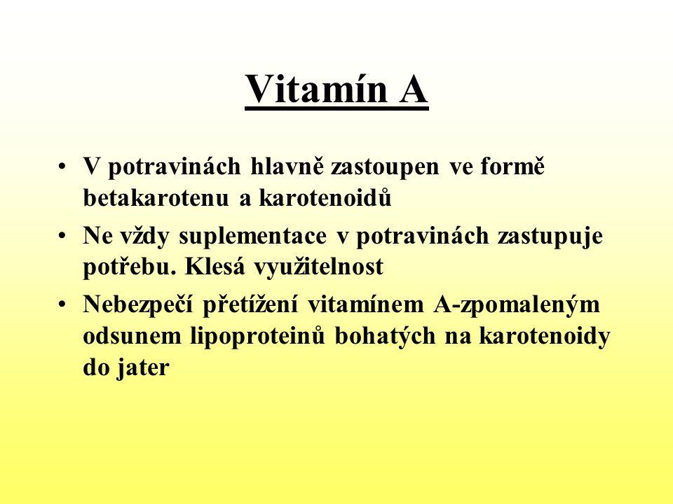 Vitamín A V potravinách hlavně zastoupen ve formě betakarotenu a karotenoidů Ne vždy suplementace v potravinách zastupuje potřebu. Klesá využitelnost